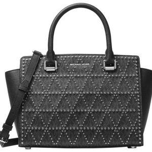Michael Kors Black Studded Selma Bag